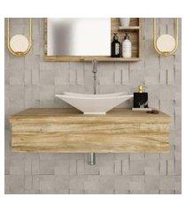 conjunto para banheiro bancada com cuba l38 folha city 800 carvalho