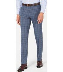 kenneth cole reaction men's slim-fit stretch blue plaid dress pants