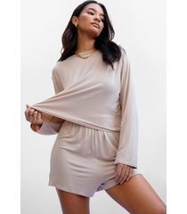 womens tee right back top and shorts pajama set - sand