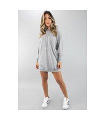 vestido rb moda camisão manga longa moletinho cinza