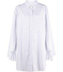 mm6 maison margiela cape-detail striped shirt dress - white