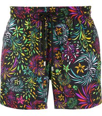vilebrequin moorise evening birds-print swim shorts - black