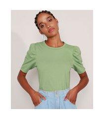 blusa básica manga bufante decote redondo verde 1