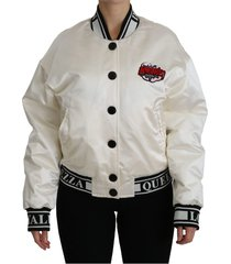 amore patch bomber coat silk jacket