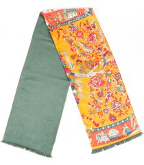 hermes printed silk scarf orange/multicolor sz: