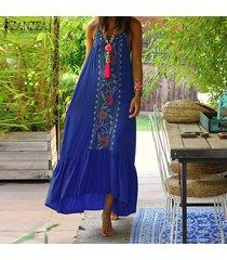 zanzea verano de las mujeres de cuerpo entero floral sundress peplum de la llamarada el columpio vestido maxi largo cami -azul