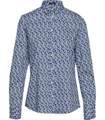 d1. autumn print stretch bc shirt overhemd met lange mouwen blauw gant