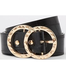 river island womens black croc embossed ring buckle belt