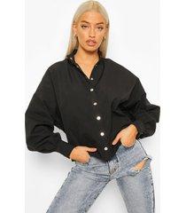 blouse met vleermuismouwen en gouden drukknoopjes, black