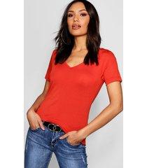basic super soft v neck t-shirt, red