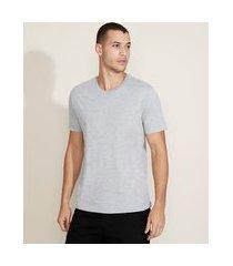 camiseta masculina básica manga curta gola v cinza mescla claro