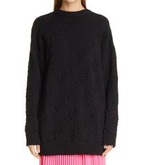 women's balenciaga tonal logo jacquard cotton sweater, size large - black