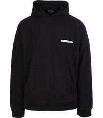 balenciaga man black turn wide fit hoodie