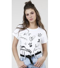 "blusa feminina ""cat lovers"" manga curta decote redondo off white"