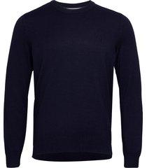 pullover long sleeve stickad tröja m. rund krage blå marc o'polo