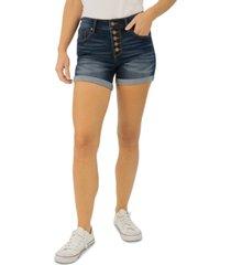 indigo rein juniors' button-fly cuffed denim shorts