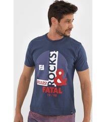 camiseta fatal estampada azul-marinho