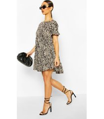 leopard print ruffle sleeve smock dress, brown