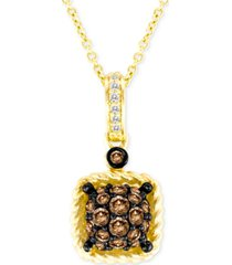 "le vian chocolatier chocolate & vanilla diamond square cluster 18"" pendant necklace (3/8 ct. t.w.) in 14k gold"
