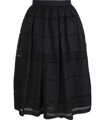 red valentino black bell midi skirt with sangallo embroidery
