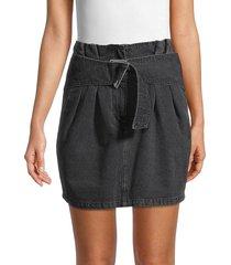 iro women's hovyae belted mini denim skirt - used black - size 34 (2)