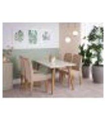 conjunto de mesa de jantar adele com tampo de vidro off white e 4 cadeiras estofadas clarice suede nude e madeira