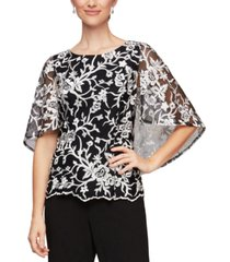 alex evenings embroidered capelet top