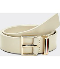 tommy hilfiger women's accent stripe leather belt oatmeal - 34