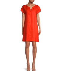 split-neck linen shift dress