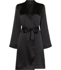 la perla belted silk robe - black