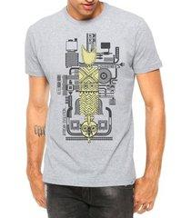 camiseta criativa urbana áfrica e tecnologia manga curta - masculino