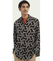 scotch & soda relaxed fit overhemd met print