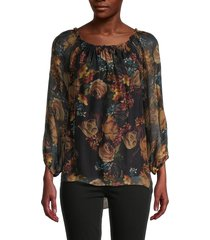 le marais women's dark floral silk blouse - purple print - size xl
