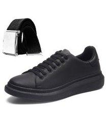 sapatênis casual masculino preto com cinto