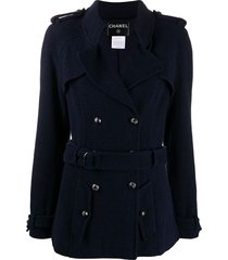 chanel pre-owned belted trench jacket - blue