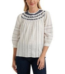 lucky brand zoey embroidered peasant top