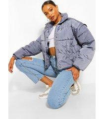 gewatteerde oversized jas met hoge hals, blue