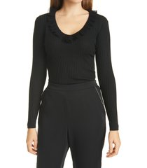 ted baker london anyibel ruffle v-neck sweater, size 1 in black at nordstrom
