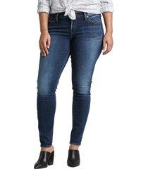 plus size women's silver jeans co. suki high waist skinny jeans, size 22w - blue