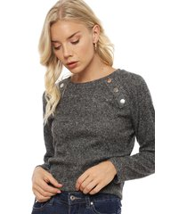 sweater tentation liso gris - calce regular