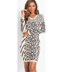 gebreide jurk met animalprint