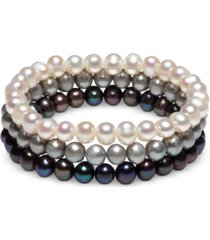 3-pc. set white cultured freshwater pearl (6-1/2 mm) stretch bracelets (also in white/gray/peacock & white/pink gray)