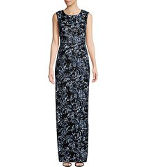 floral-embroidered jacquard sequin gown