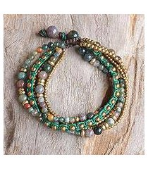 agate beaded bracelet, 'summer earth' (thailand)