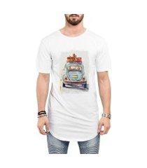 camiseta criativa urbana long line oversized fusca azul carro antigo clássico viagem