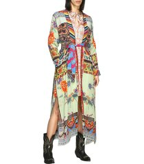 etro coat etro creponne silk cardigan with patchwork print and belt