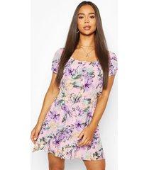 bloemenprint skater jurk met knopen, roze