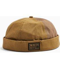 mens khaki herringbone and ripstop reverse docker hat