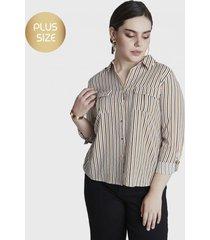 blusa manga larga con botones mostaza curvi