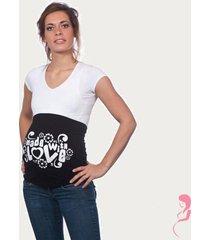 op en top zwanger zwangerschaps buikband made with love zwart
